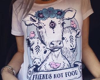 vegan shirt, friends not food shirt, vegan presents, herbivore, vegan gift, vegan t shirt, vegetarian shirt, vegan clothing