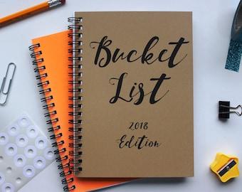Bucket List- 2018 edition - 5 x 7 journal