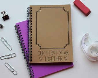 Our First Year Together (with outline photo frame) - 5 x 7 journal