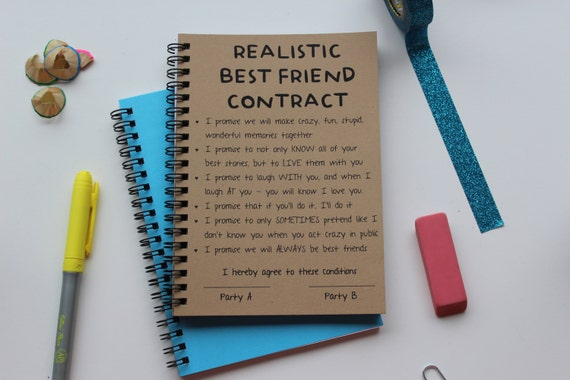 Realistic best friend contract 5 x 7 journal etsy image 0 thecheapjerseys Choice Image