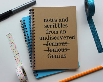 Notes and scribbles from an undiscovered Genius- 5 x 7 journal