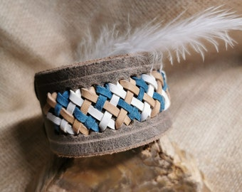Leather bracelet grey, buffalo leather, tricolour braiding (Flecht9)