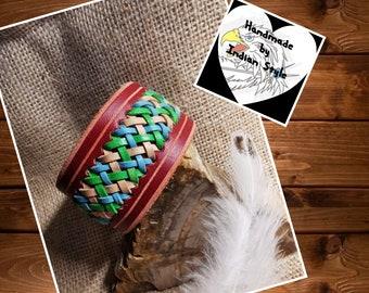 Leather bracelet red, cowhide, tricolour braiding (Flecht10)