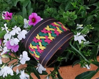 Leather bracelet, dark brown, buffalo leather, three-tone braiding (Flecht12)