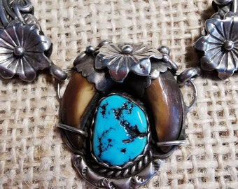 Navajo Collier 925 Sterling, turquoise and claws