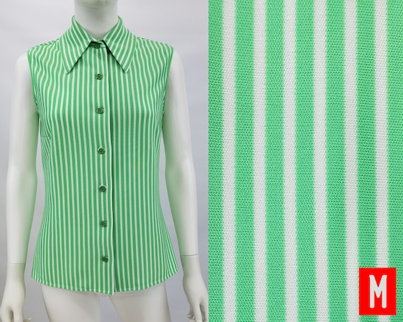 Vintage Green and White Striped Button Up Shirt Bl