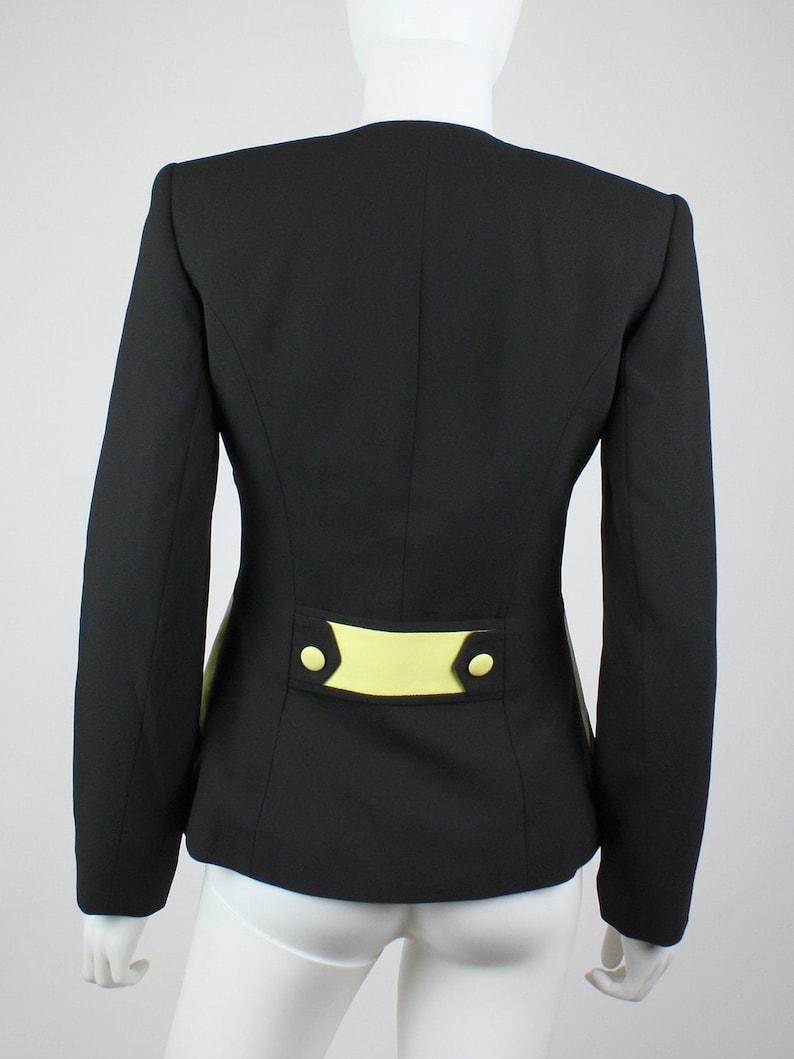 Size: 2   90/'s Vintage Alberto Makali Black and Yellow Leather Blazer Jacket Cache XSS