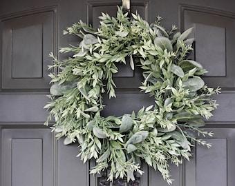 "Farmhouse Wreath, Front Door Wreath, Year Round Wreath, Lambs Ear Wreath, 16"" Medium Sized Wreath, Greenery Wreath, Indoor Or Outdoor Wreath"