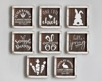 Mini Easter Wood Signs, Small Wood Signs, Easter Decor, Tiered Tray Signs, Small Spring Wood Signs, Spring Decor, Tiered Tray Decor