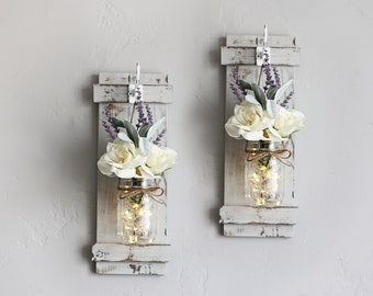 Rustic Wood Wall Sconces, Mason Jar Sconces, Mason Jar Decor, Wall Vase Pair, Farmhouse Wall Decor, Wall Sconce Light, Wall Sconce Pair