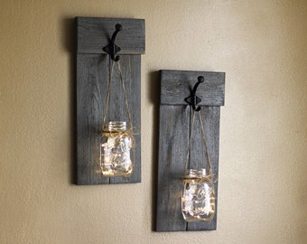 Distressed Sconce Set, Wall Sconce, Lighted Wall Sconces, Mason Jar Sconces, Rustic Wall Decor, Rustic Candle Holders, Farmhouse Wall Decor