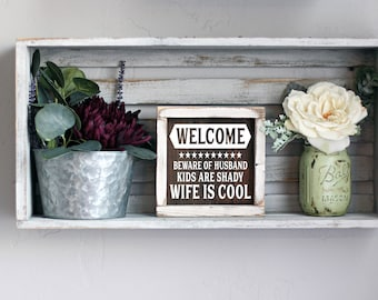 Mini Welcome Wood Signs, Small Wood Signs, Porch Decor, Tiered Tray Signs, Small Wood Signs, Spring Decor, Tiered Tray Decor, Welcome Sign