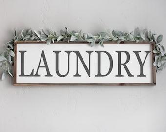 Laundry Wood Sign, Laundry Room Sign, Laundry Room Wall Decor, Farmhouse Wall Decor, Framed Wood Signs, Large Wood Signs