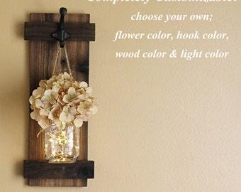 Farmhouse Wall Decor, Mason Jar Wall Sconce, Rustic Wall Decor, Lighted Sconce, Single Wall Sconce, Sconce With Flowers, Mason Jar Decor