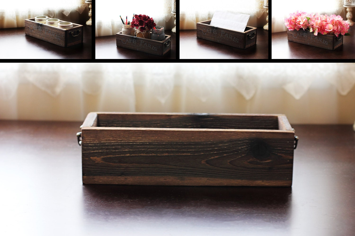 Rustic Wooden Box Mail Holder Wedding Centerpiece Candle