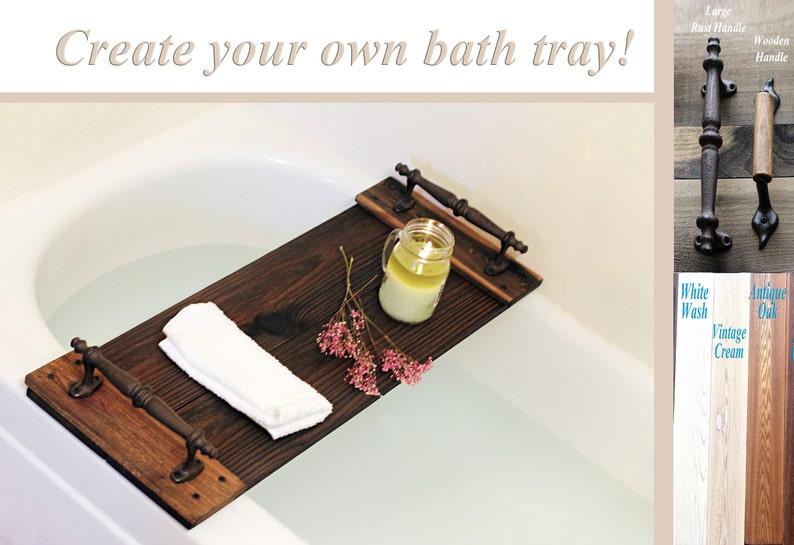 Bath Tray Bath Caddy Wooden Tray Bathroom Decor Rustic image 0
