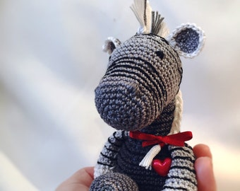 READY TO SHIP - Valentine Zebra Amigurumi - Gift for your girlfriend, Valentine Soft toy