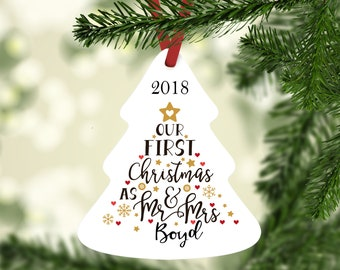 Mr and Mrs Ornament, Personalized Christmas Ornament, Our First Christmas, Gift for Newlywed, 2018 Ornament, 2018 Christmas, Gay Ornament