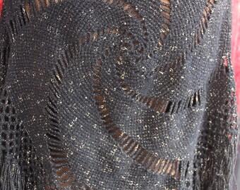 70s cosmic swirl metallic thread shawl, bohemian, hippie