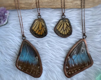 Blue Morpho, Monarch Butterfly Wing Necklace, Copper Electroformed, Real Butterfly Jewelry, Nature Necklace, Butterfly Gift, Wing Necklace