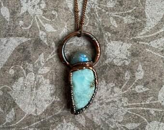 Larimar Necklace, Labradorite, Crystal Necklace, Gemstone Pendant, Transformation Jewelry, Ocean Necklace, Electroformed