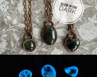 Glacier Silt Necklace, Blue Glow in the Dark, Mendenhall Glacier, Copper Electroformed, Resin Pendant, Alaskan Gift, Juneau, UV Necklace