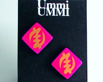 Pink/Black with Gold Gye Nyame Detail Small Leather Stud Earrings on Nickel Free Posts