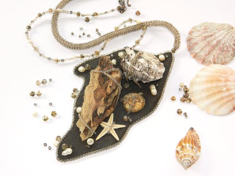 Seashell Driftwood Necklace Beach Wedding Pendant Mermaid