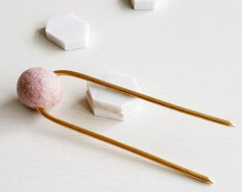 LAVENDER BUN PIN_TALL   hair pin, metal hair pin, gold hair pin, hair stick, hair accessories, minimalist, hair clip, pink  