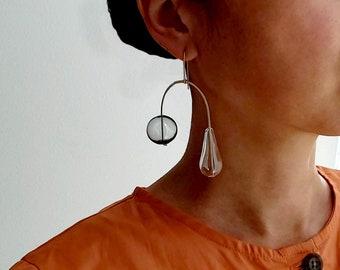 EBB AND FLOW earrings | mobile earrings, gold earrings, bubbles, clear, dangle earrings, minimalist earrings, glass jewelry |