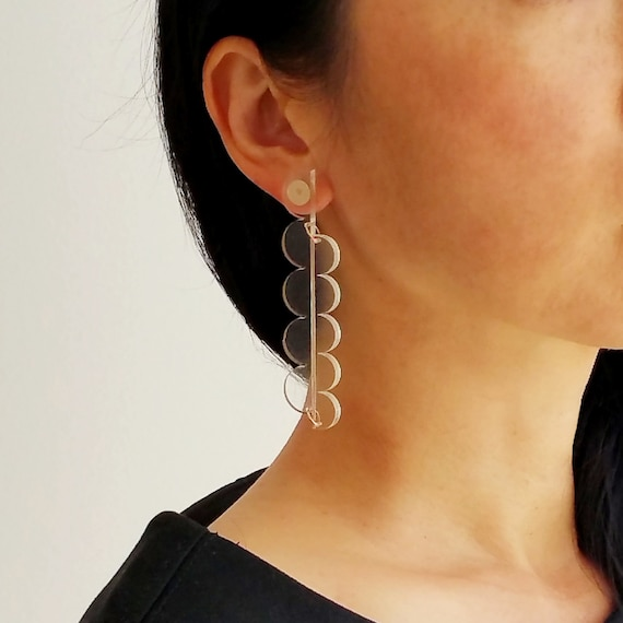 Transparent Acrylic Earrings Simple and modern earrings Contemporary geometric earrings Summer collection Statement handmade earrings