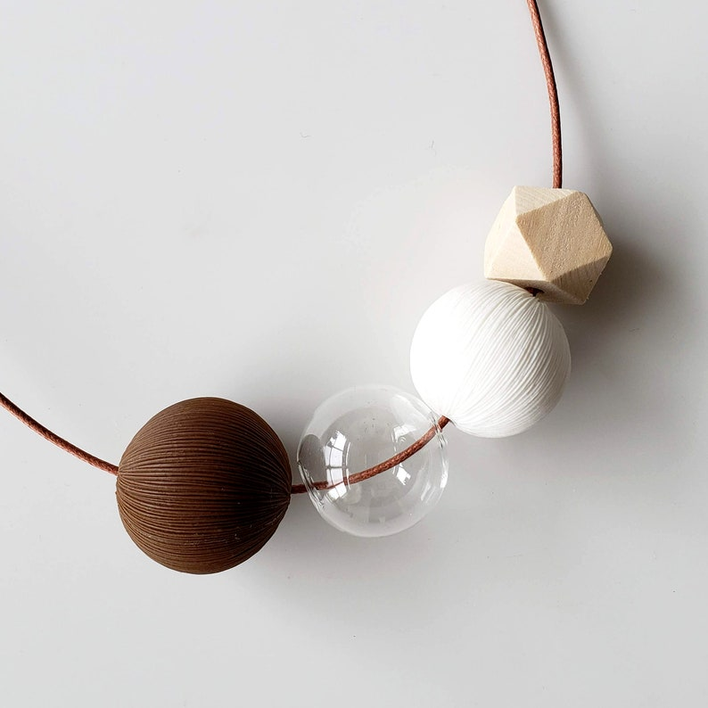 34 brown pom pom necklace adjustable necklace | DOTS NECKLACE NO bubbles necklace clay jewelry white beads necklace
