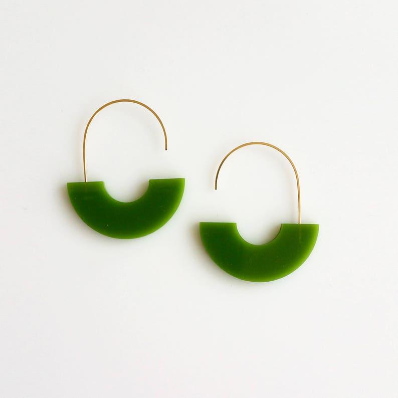 ARCH EARRINGS COLOR  green earrings arch earrings image 0