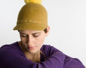 Mustard colored Basballcap with a Yellow Fur Pompom, Made to Order :)