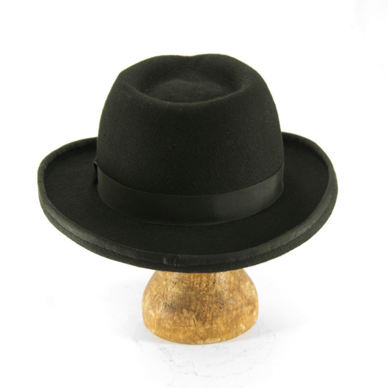 060177d65dea0 Black Wool Felt Fedora with a Teardrop Crown Homburger Hat
