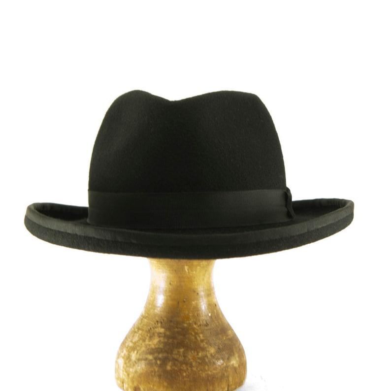 060177d65dea0 Black Wool Felt Fedora with a Teardrop Crown Homburger Hat