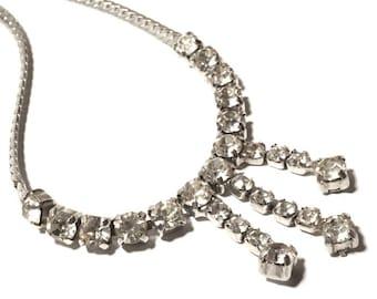 4e7964b61 Vintage Rhinestone Necklace, Sparkly Diamanté Choker, Bridal Wedding Jewelry,  Silver Tone Chain with Clear Diamanté Detail