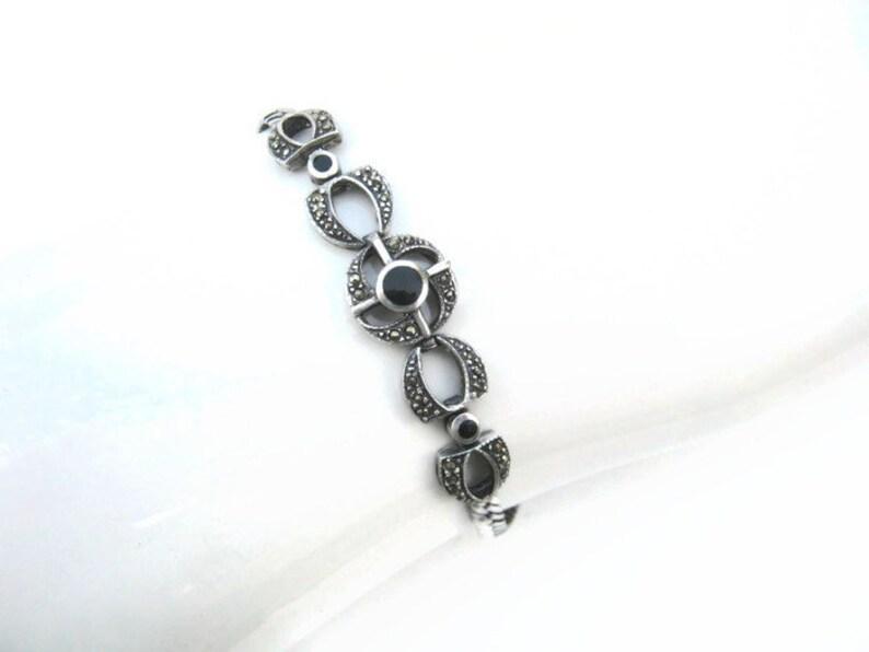 925 Jewelry, Vintage Sterling Silver Bracelet with Marcasite and Onyx Art Deco Style Vintage 925 Black /& Silver Bracelet