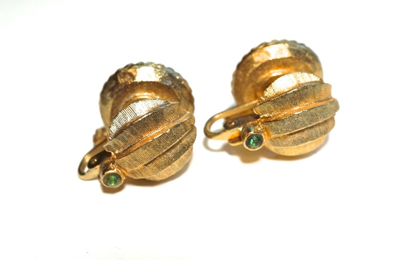 Unusual Vintage Earrings Green and Gold Earrings Mid Century Jewelry Double Sided Clip Ons