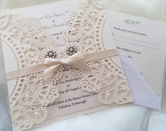 Lace and pearl wedding invitations | Etsy