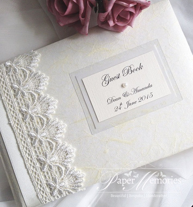 LARGE SIZE Vintage Guipure Lace /& Pearl Wedding Guest Book