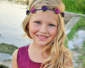 Felt flower headband-  Flower crown - newborn through adult - mulberry and vineyard