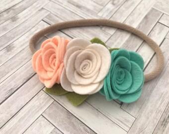 Felt flower headband - nylon headband - One size fits most