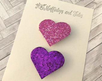 Glitter heart clips - READY TO SHIP - alligator clips - raspberry and purple
