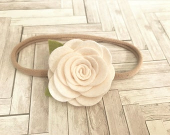 felt flower headband  - nylon band - ivory