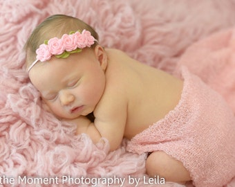 Felt flower garland headband  - baby flower headband - newborn/baby/toddler headband - pink flower garland