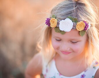 Felt flower crown - nylon headband  - flower girl headband - flower garland
