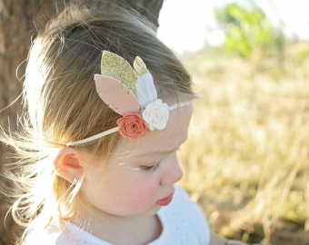 Flower and feather headband - newborn through adult - boho headband