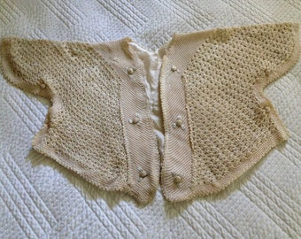 Antique crocheted baby jacket
