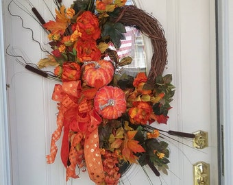 Fall Wreath, Autumn Wreath, Pumpkin Wreath, THE PUMPKIN BALL Grapevine & Silk Floral Seasonal Fall Autumn Thanksgiving Front Door Wreath